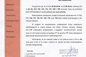 Zmiany w rozkładach jazdy MZKP - wakacje